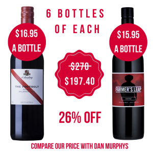 d'Arenberg Footbolt Shiraz and Farmers Leap Shiraz